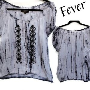 Fever XXL black & white tie dye blouse